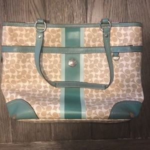 PRICE NEGOTIABLE Turquoise and cream bag fromCoach